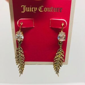Juicy Couture Feather Crystal Drop Earrings! Nwt!